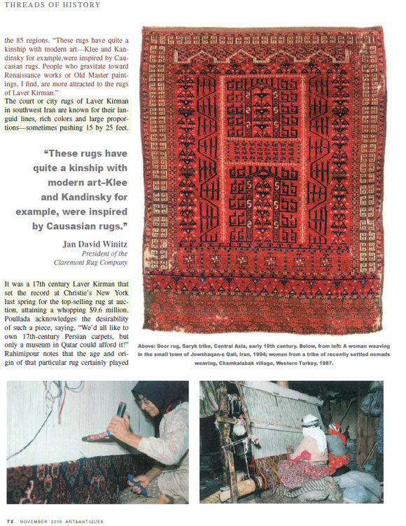 Threads of History: Arts and Antiques Magazine- Claremont Rug