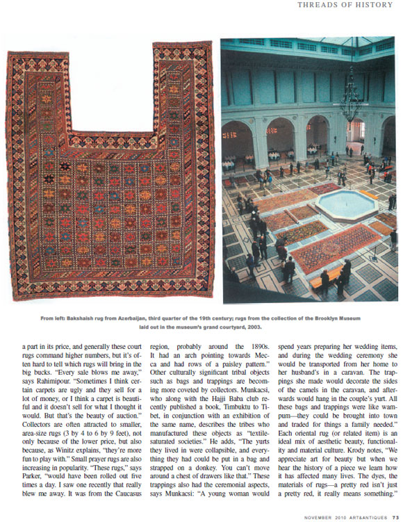 Threads Of History Arts And Antiques Magazine Claremont Rug