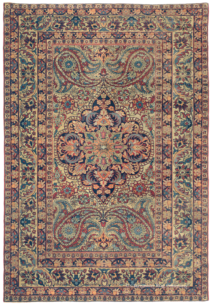 Persian Laver Kirman Antique Rug with Boteh pattern