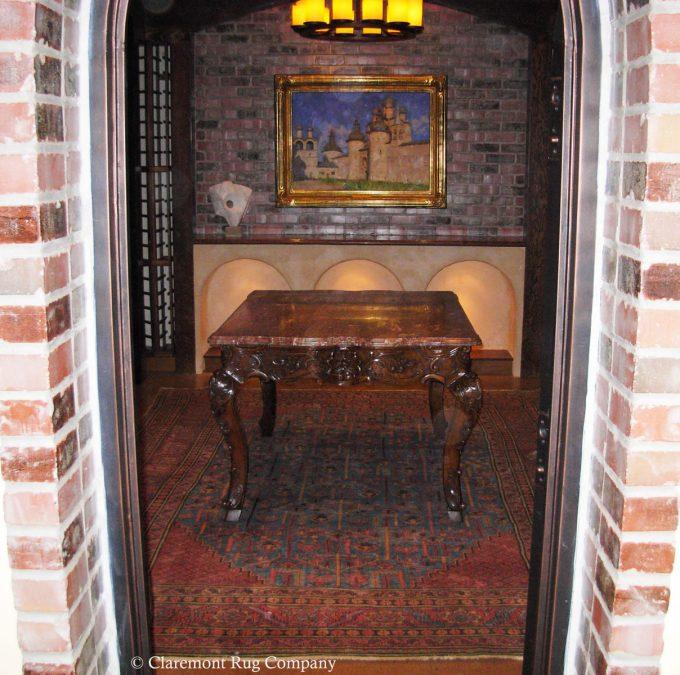 Antique 19th-Century Persian Bakshiash Antique Carpet in Silicon Valley Wine Cellar