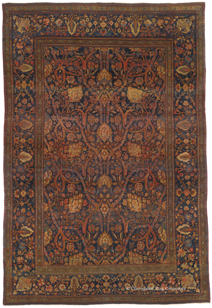 Central Persian Mohtasham Kashan 19th Century Antique Rug