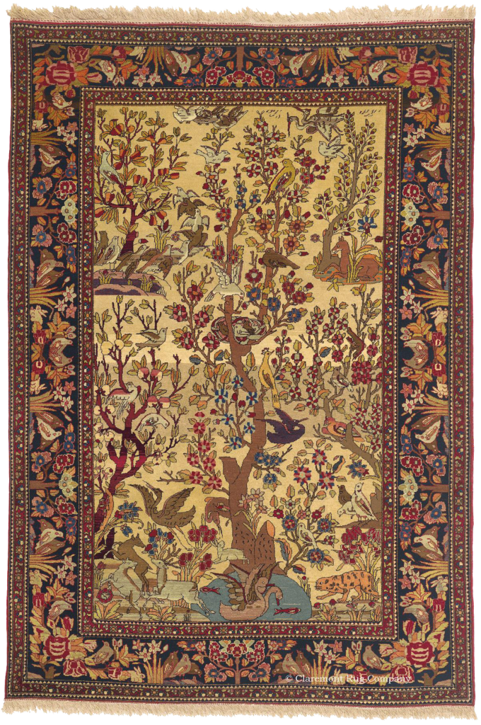 Antique Tehran Tree Of Life Persian Rug