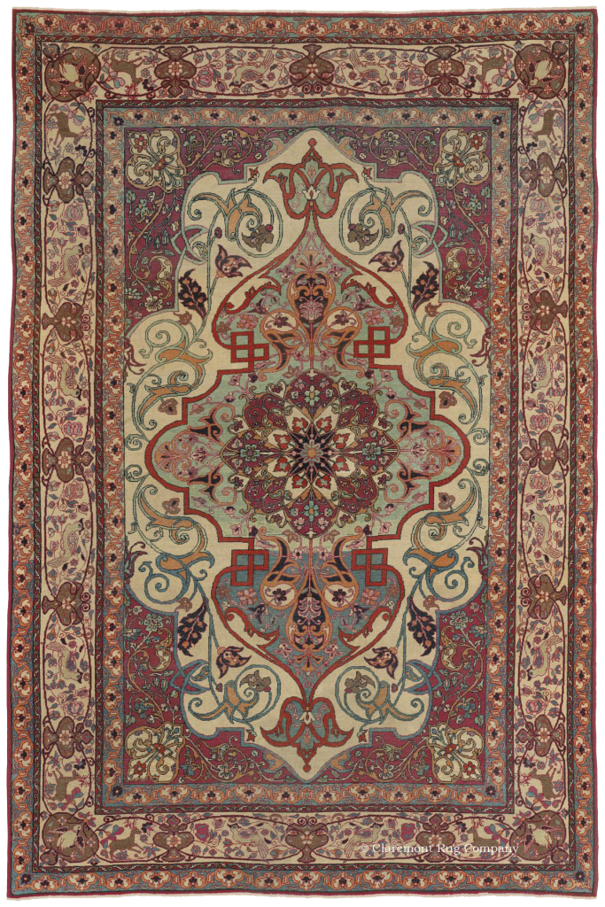 Antique Tehran Persian Carpet with Aqua, Ivory and red