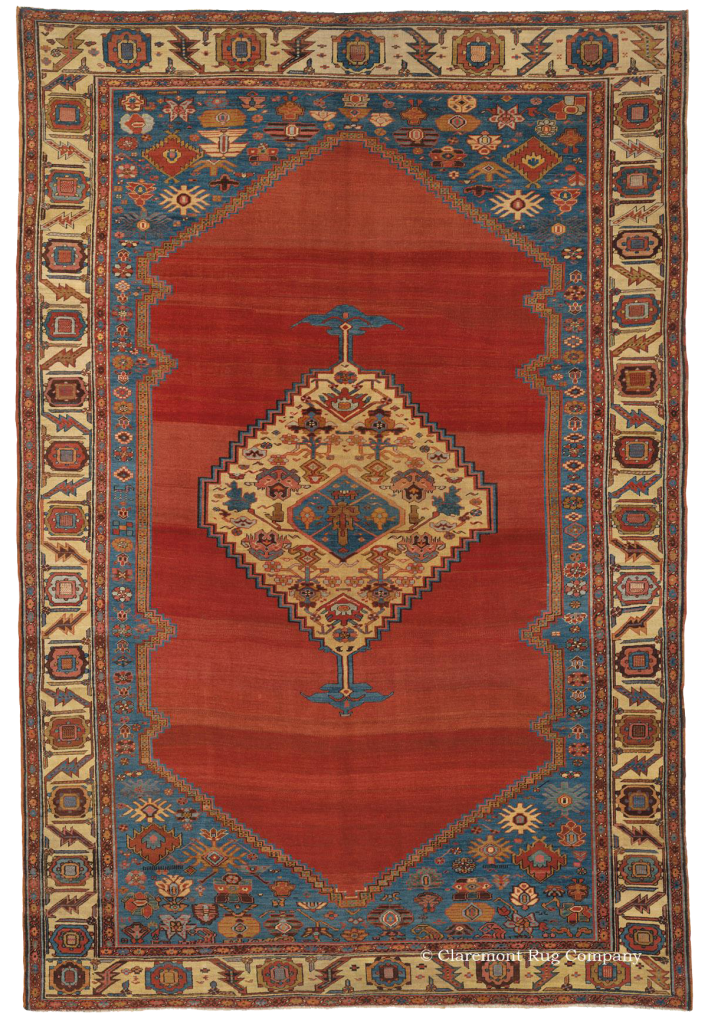 Antique Serapi with red abrash
