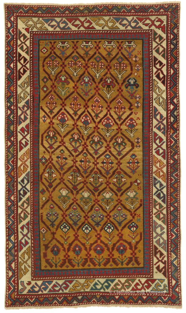 Caucasian Shirvan natique rug with golden ground