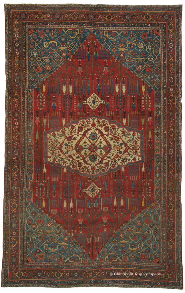 Click to learn more about this Antique Northwest Persian Halvai Bijar( Bidjar) Rug
