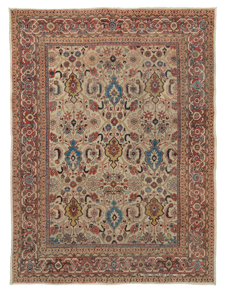 Ivory Persian Sultanabad ANtique Carpet