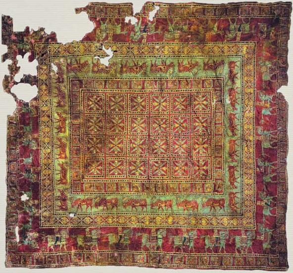 The Pazyryk Carpet, discovered in a remote mountain area of Southern Siberia in 1947, had been nearly completely preserved, frozen in ice, for over 2,500 years.