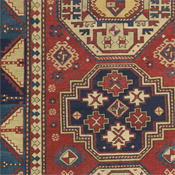 TRIPLE MEDALLION KAZAK - Southern Central Caucasia 4ft 8in x 7ft 0in Circa 1850