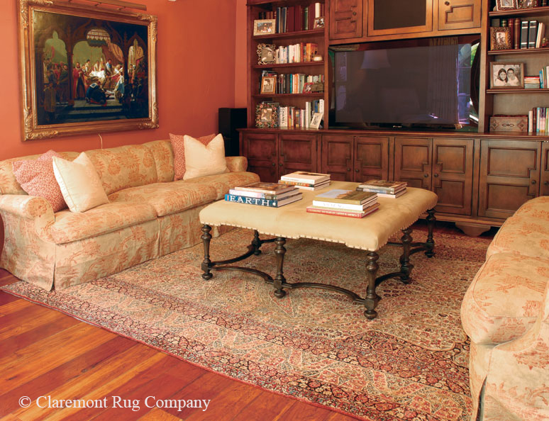 """This large scale """"Tree of Life"""" Laver Kirman carpet adds color and light to this Client's Media Room"""