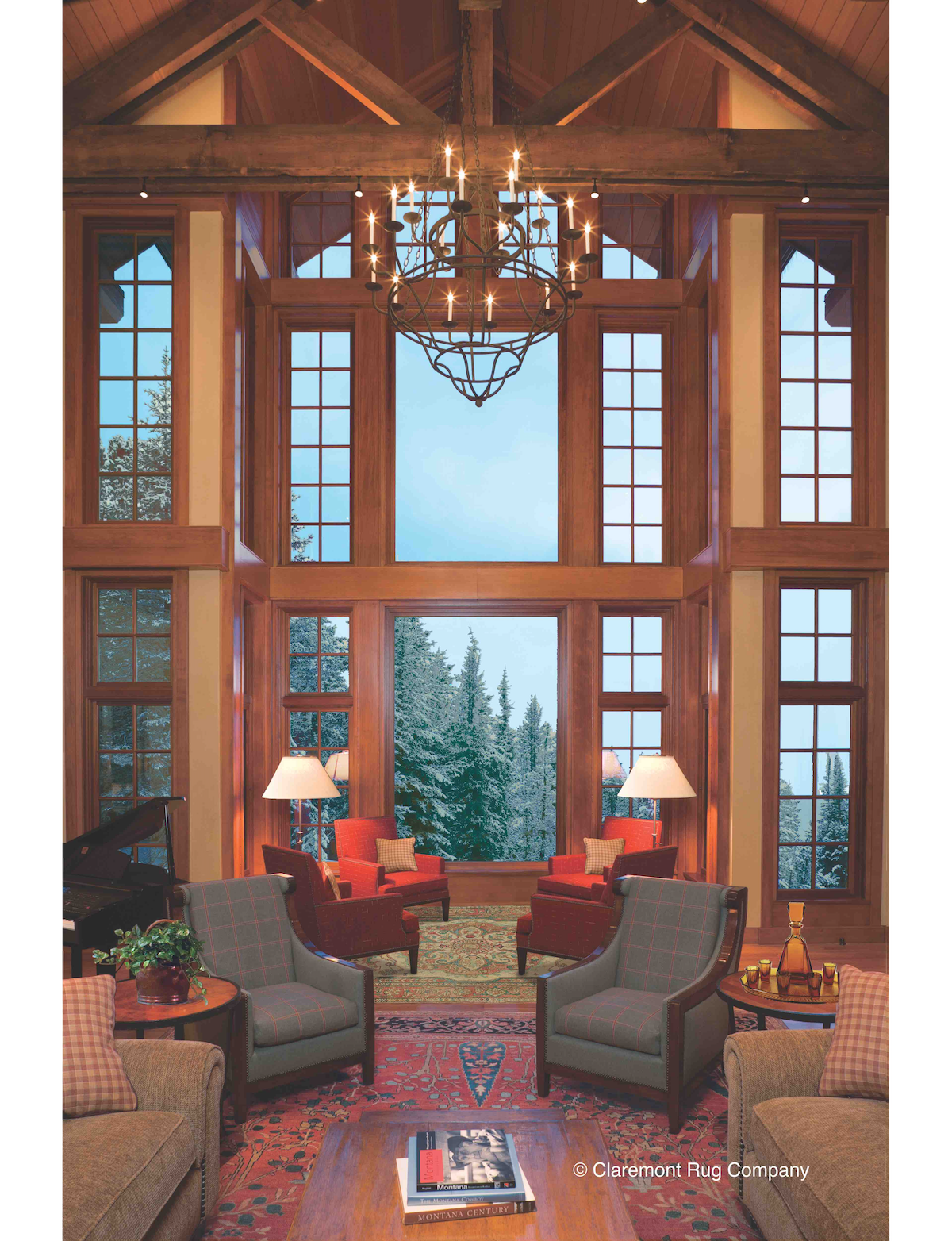This vaulted Great Room with its spectacular view hosts two High-Collectible Persian antique carpets that add a stirring layer of sublime artistry to the gracious ambiance.