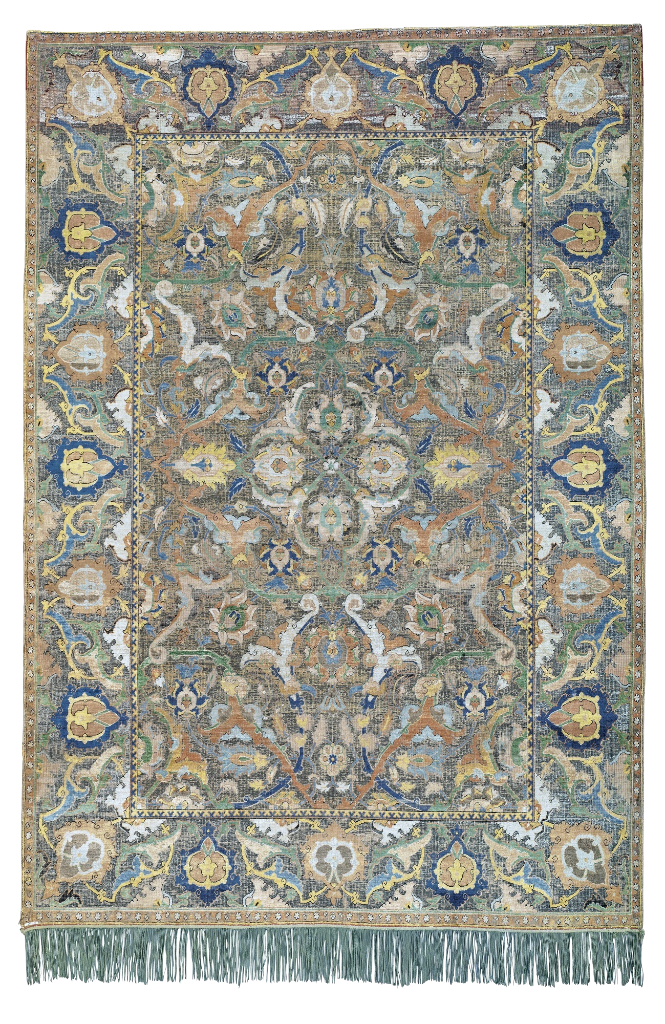 A large seating area in this grand, casual home hosts a luxurious Camelhair Bakshaish rug.