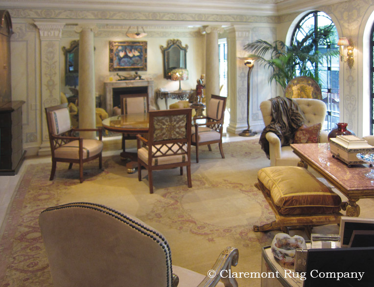 Indian Antique Amritsar Carpet In Soft Gold Graces Elegant Sunroom