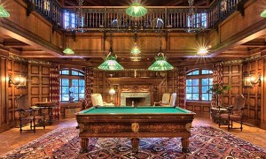 AN Antique Bakhtiari Compartment Rug Decorates a Well Appointed Billiards Room in Lake Tahoe