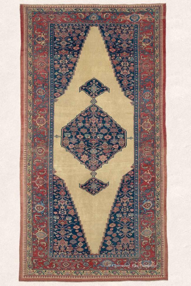 Antique Bijar Oriental Carpet in Blue