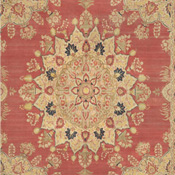 Tabriz type large room size antique Persian rug with red field and earth tone central medallion