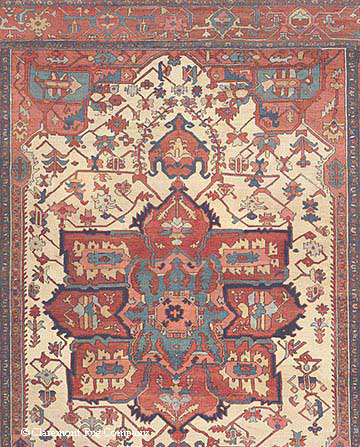 Detail of Persian Serapi Rug