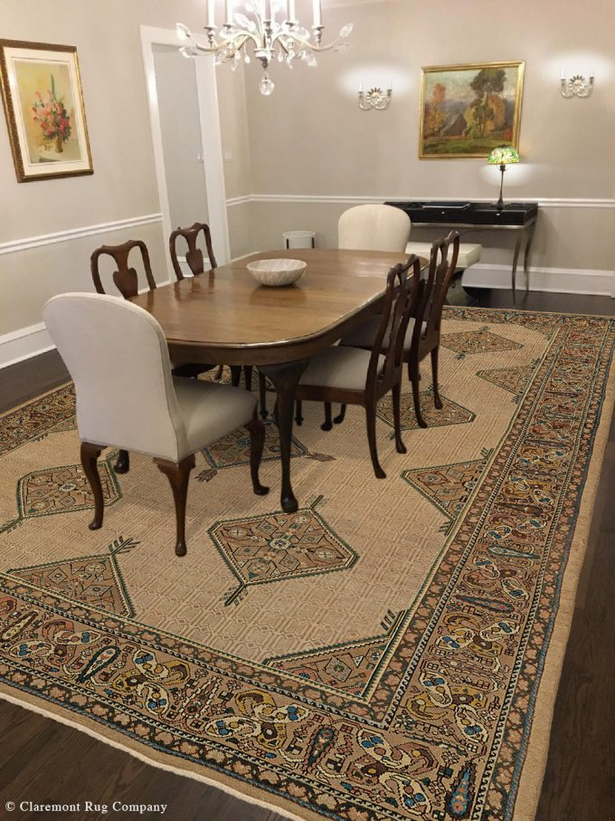 Antique Persian Malayer carpet in a Claremont Rug Company's home