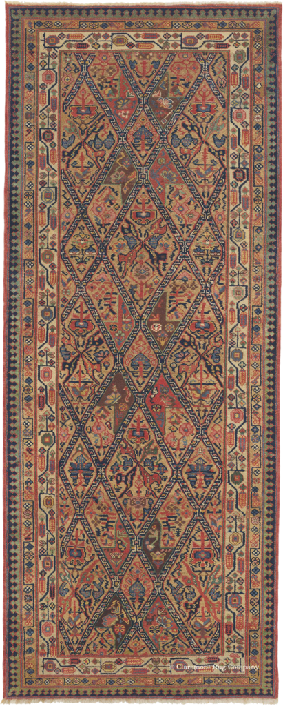 Click to learn more about this Northwest Persian Kurdish Camelhair Runner Rug