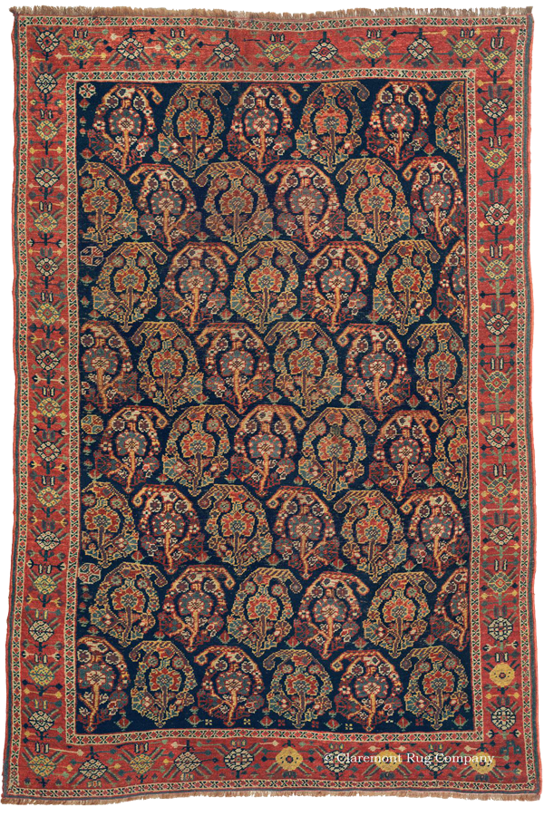 Click to learn more about this Kurdish 'Boteh' Rug