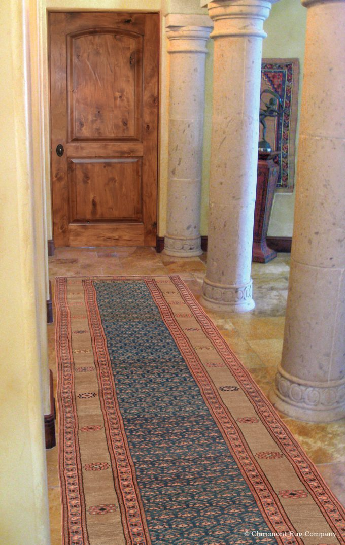 Antique Persian Bakshaish camelhair in Mediterranean home entry