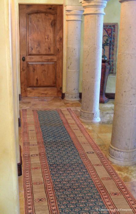 Antique Bakshaish Camelhair runner in Mediterranean home entry