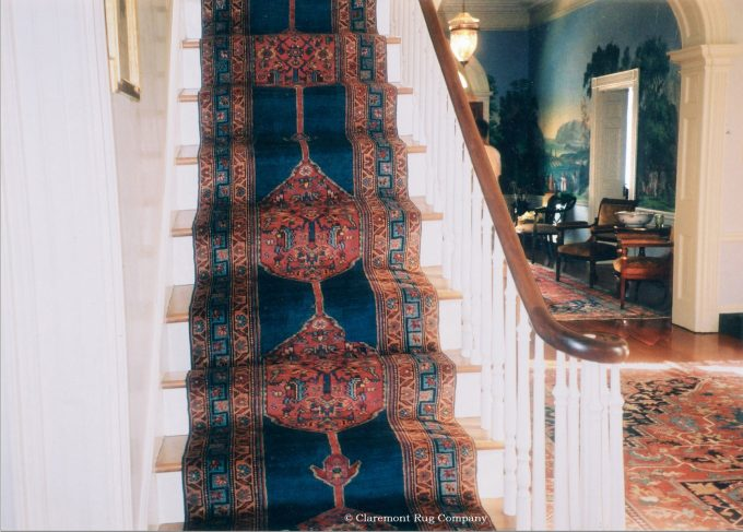 Antique Persian Bijar runner on Washington D.C. historical colonial staircase decor