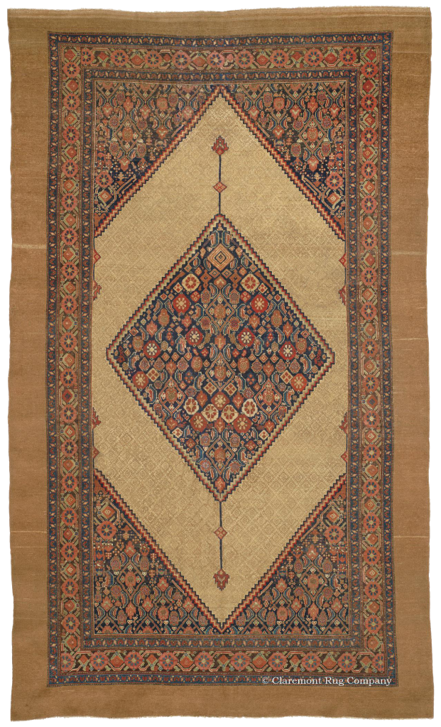 Antique Serab Camelhair Carpet With Geometric Lattice