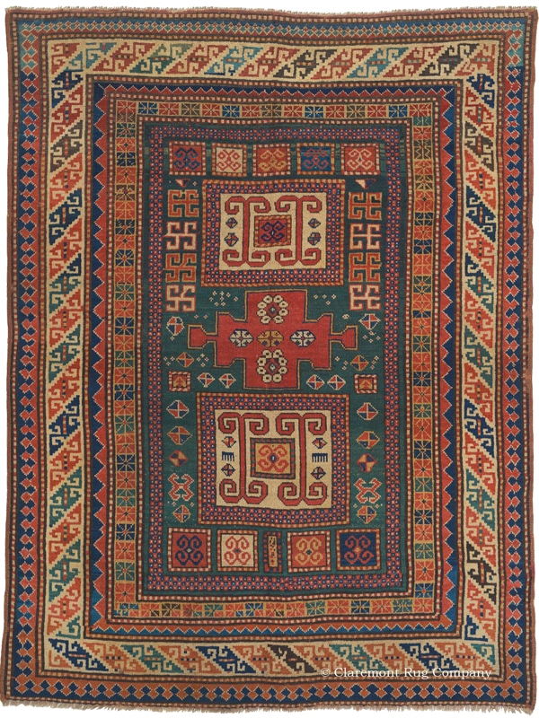 Click to learn more about this South Central Karachov Kazak Antique Rug