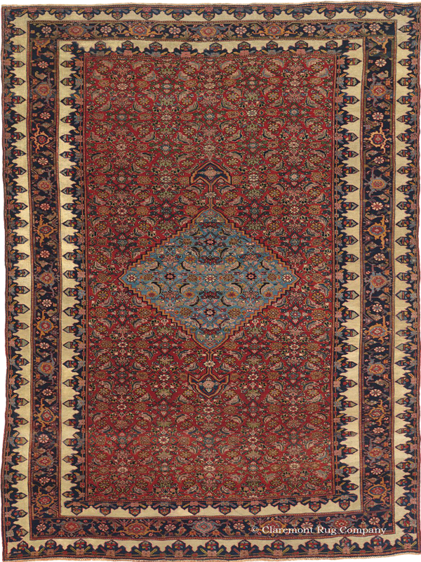 Click to learn more about this Northwest Persian 19th Century Halvai Bijar (Bidjar) Rug