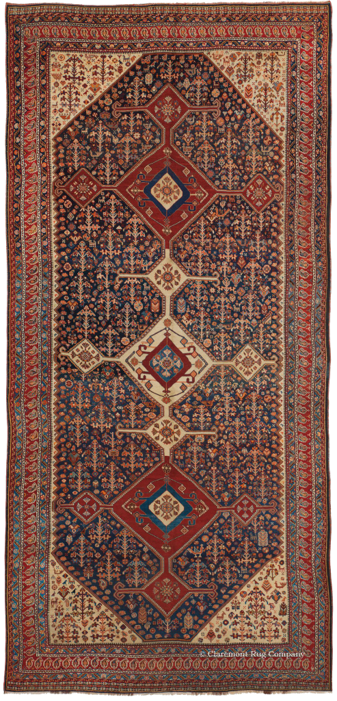 Click to learn more about this stunning Southwest Persian Qashqai Corridor Carpet
