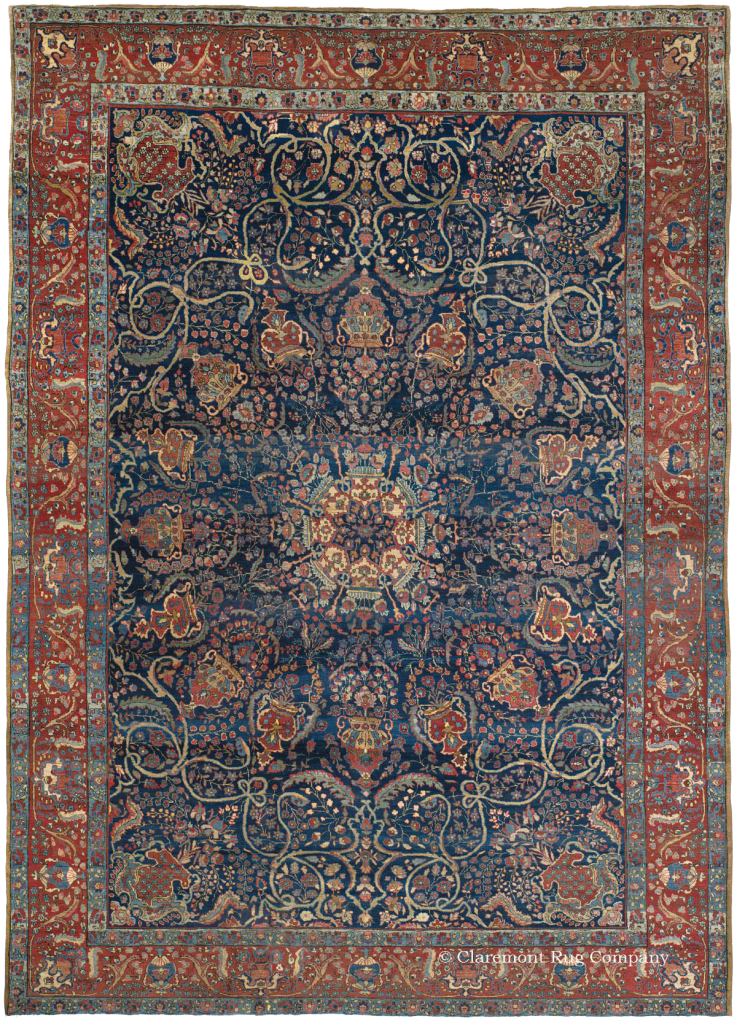 Click To Learn More About This Indigo Ground Northwest Persian Tabriz Rug