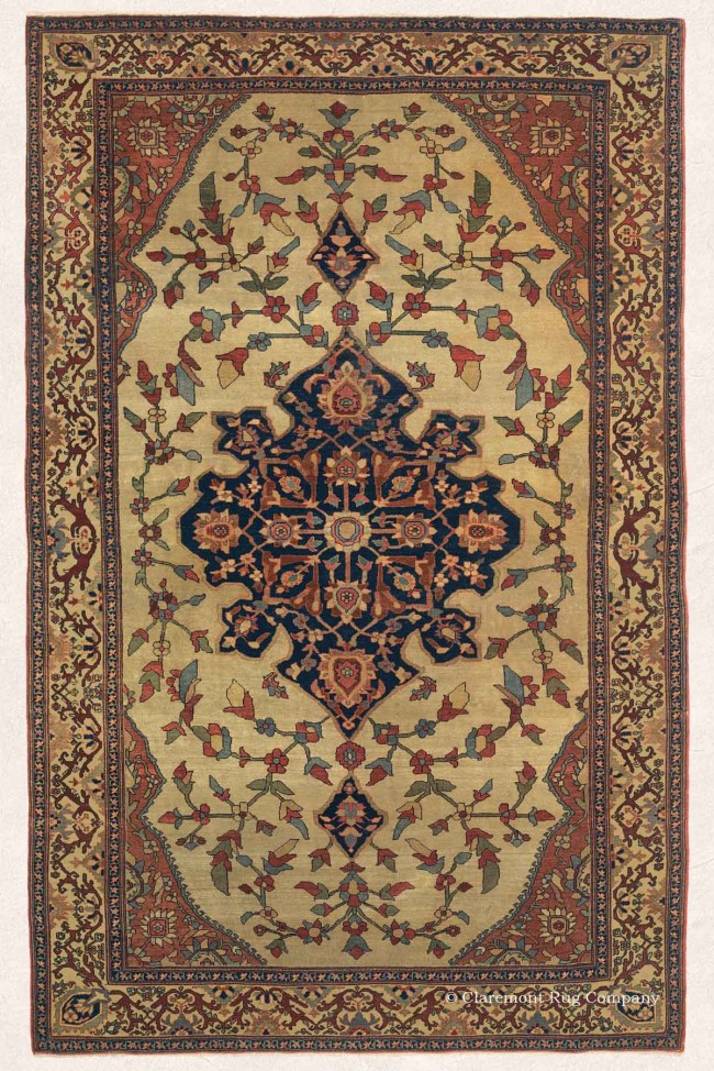 Antique Persian Carpet with Central Medalion