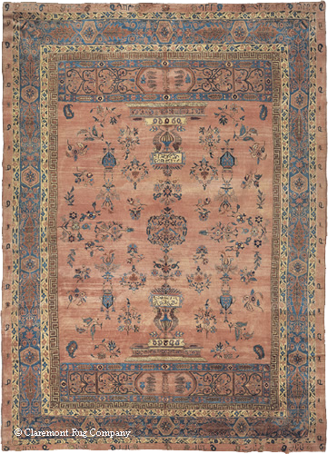 "Antique Persian Sarouk, 10ft 3in x 14ft 3in, late 19th century. Note that an entirely innovative design, extremely fine drawing of the motifs, purposeful, continually changing spacing of the motifs and subtle nuances of color. Signed by the noted workshop ""Gazan"" and inscribed for the patrons who commissioned it."