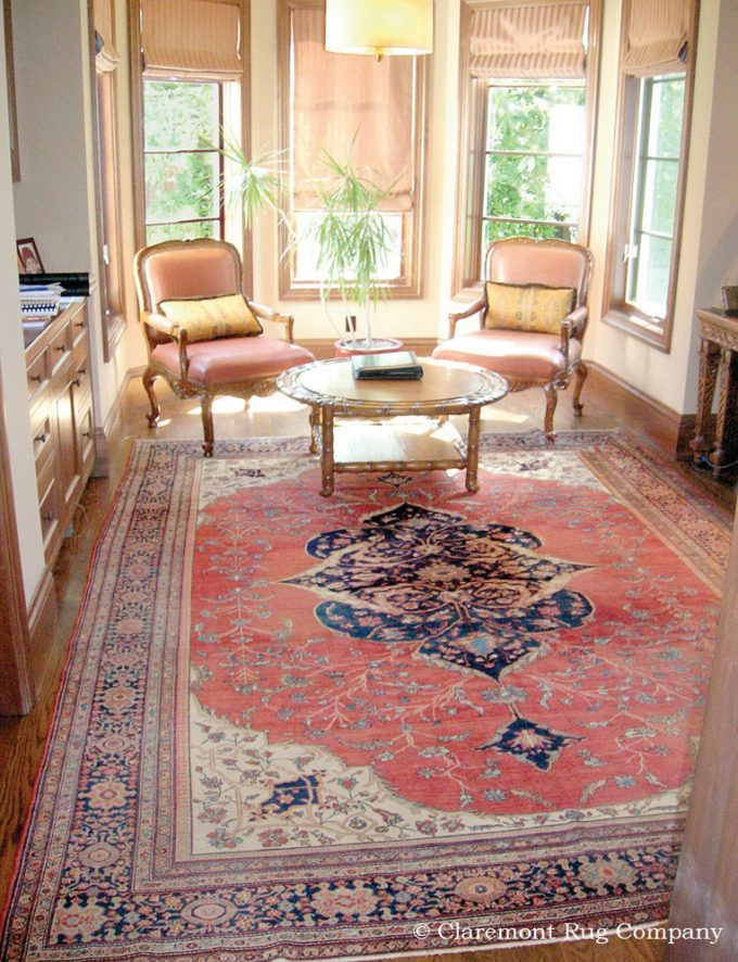 Antique-Rug-Ferahan-Sarouk-Persian-Carpet-in-Office-of-traditional-Silicon-Valley-Home