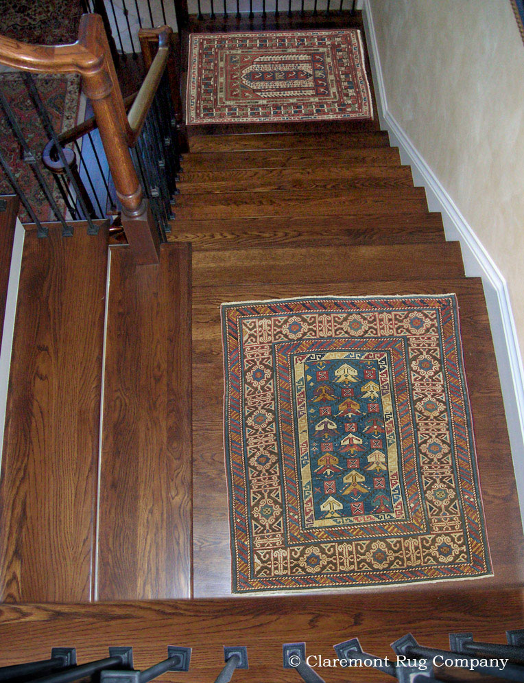 Collectible Oriental Antique Rugs Add Artistic Touch To Staircase