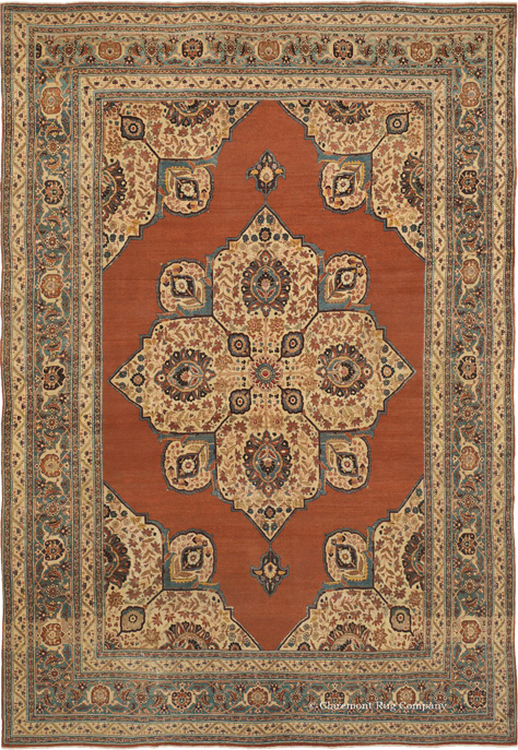 Antique Tabriz, 7ft 9in x 11ft 5in, 2nd quarter, 19th century
