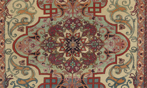 Detail of antique Tehran rug, 4-7 x 6-9