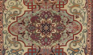 Detail of antique Tehran rug, 4-7 x 6-9