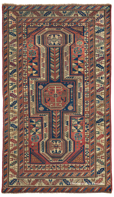 Antique Caucasian Baku Rug 3ft by 5ft 3in