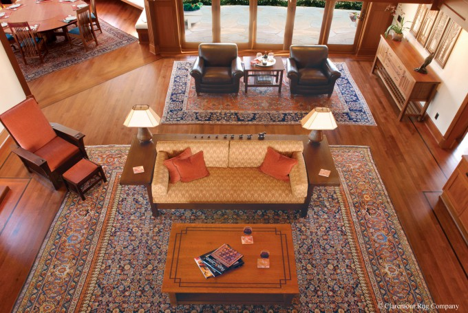 A Suite of 19th century Sultanabad Carpets in a craftsman home