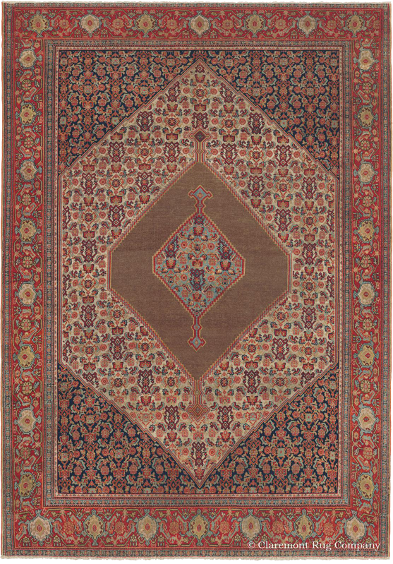 Click to learn more about this Northwest Persian Senneh Camelhair 19th Century Rug