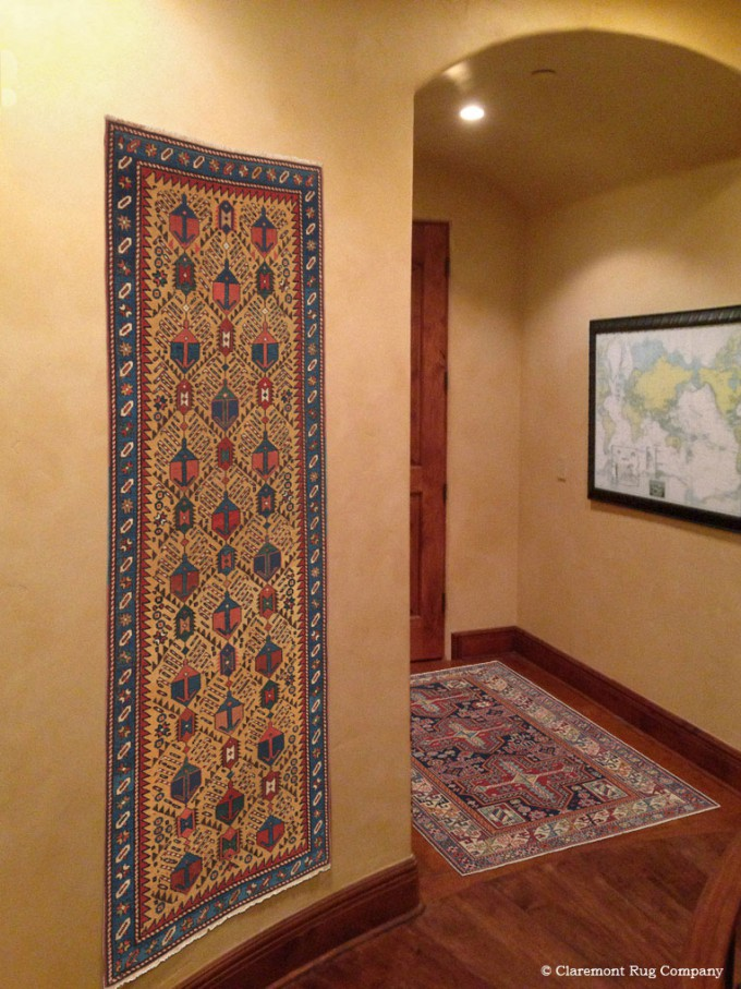 Antique Oriental Gendje and Shirvan Caucasian Rugs with Abstracted Design in hallway