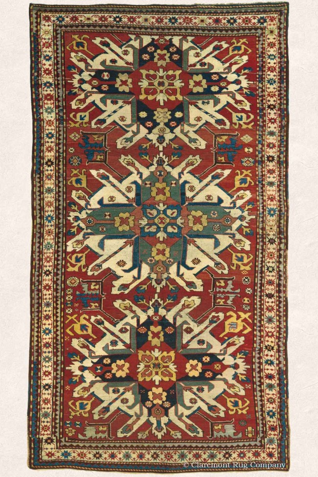 EAgle Kazak Caucasian Rug with Triple Medallion