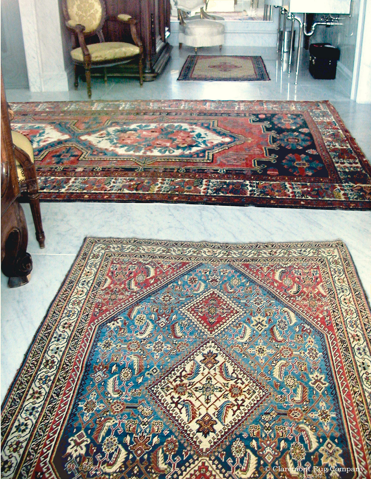 Remarkable century old tribal rugs bring traditional for Master bathroom rugs