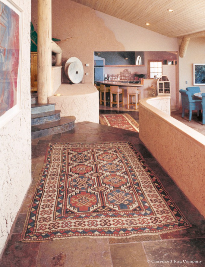 Antique Oriental Caucasian Carpets in Sante Fe Adobe Home