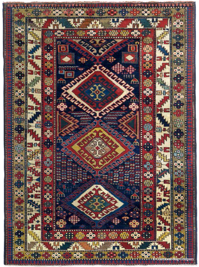 """Vividly demonstrating the philosophy of """"Unity in Mulitplicity."""" in Caucasian Rugs. Shirvan, Causasus, 3rd quarter, 19th cent., (4' 3""""'x 5' 7"""")"""