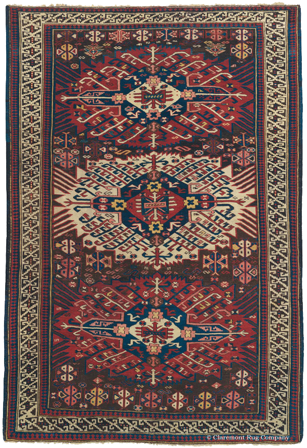 Click to learn more about this Zejwa Kuba Southeast Caucasian Rug, an antique rug type