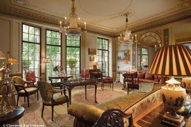 Hadji Jallili Tabriz Antique rug in a Louis XVI sitting room
