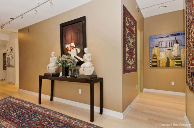 Collectable Caucasian Tribal Antique Rugs In Contemporary San Francisco Condo Hallway